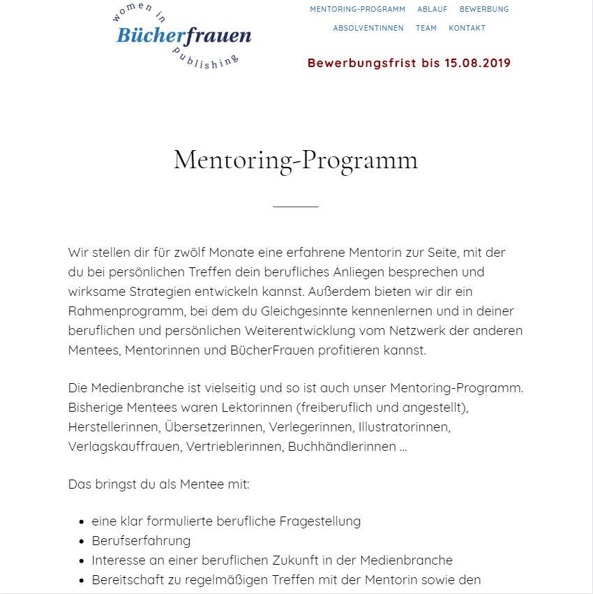 Mentoring-Programm der Bücherfrauen Hamburg